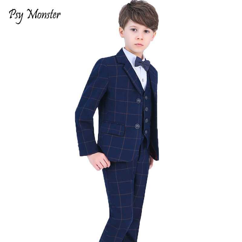 6461cebad7ba04e Костюмы для мальчиков на свадьбу Выпускной костюм Пиджаки брюки рубашка  галстук 4 шт. комплект детской