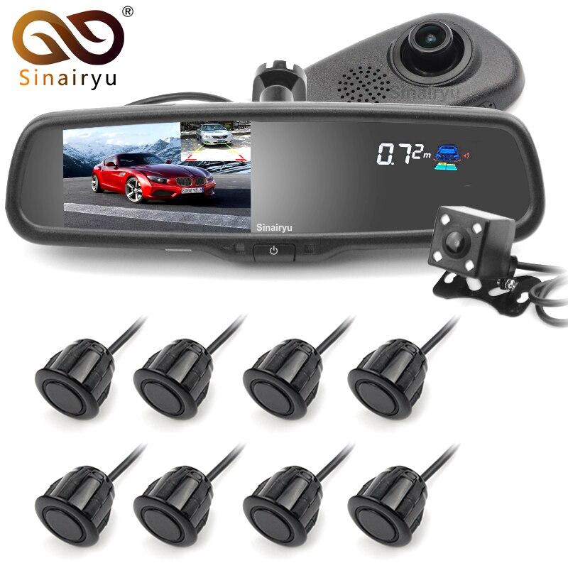 Sinairyu 5 Voiture Caméra DVR Double Lentille Rétroviseur Enregistreur Vidéo 1080 p Automobile DVR Miroir avec Avant/ arrière 8 Parking capteur