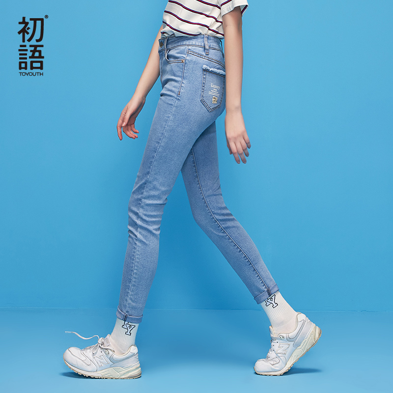 Toyouth Skinny Jeans Pencil Pants 2019 Autumn Letter Printing Women Jeans Fashion Vintage Slim Denim Trousers for female