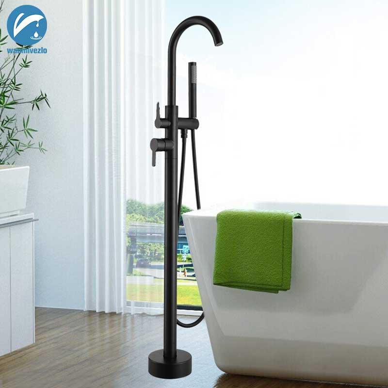 Black/Golden Bathtub Shower Faucet Floor Standing Bath Tub Spout Shower Single Handle Mixer Tap Bathroom Shower Faucet Mixer Tap