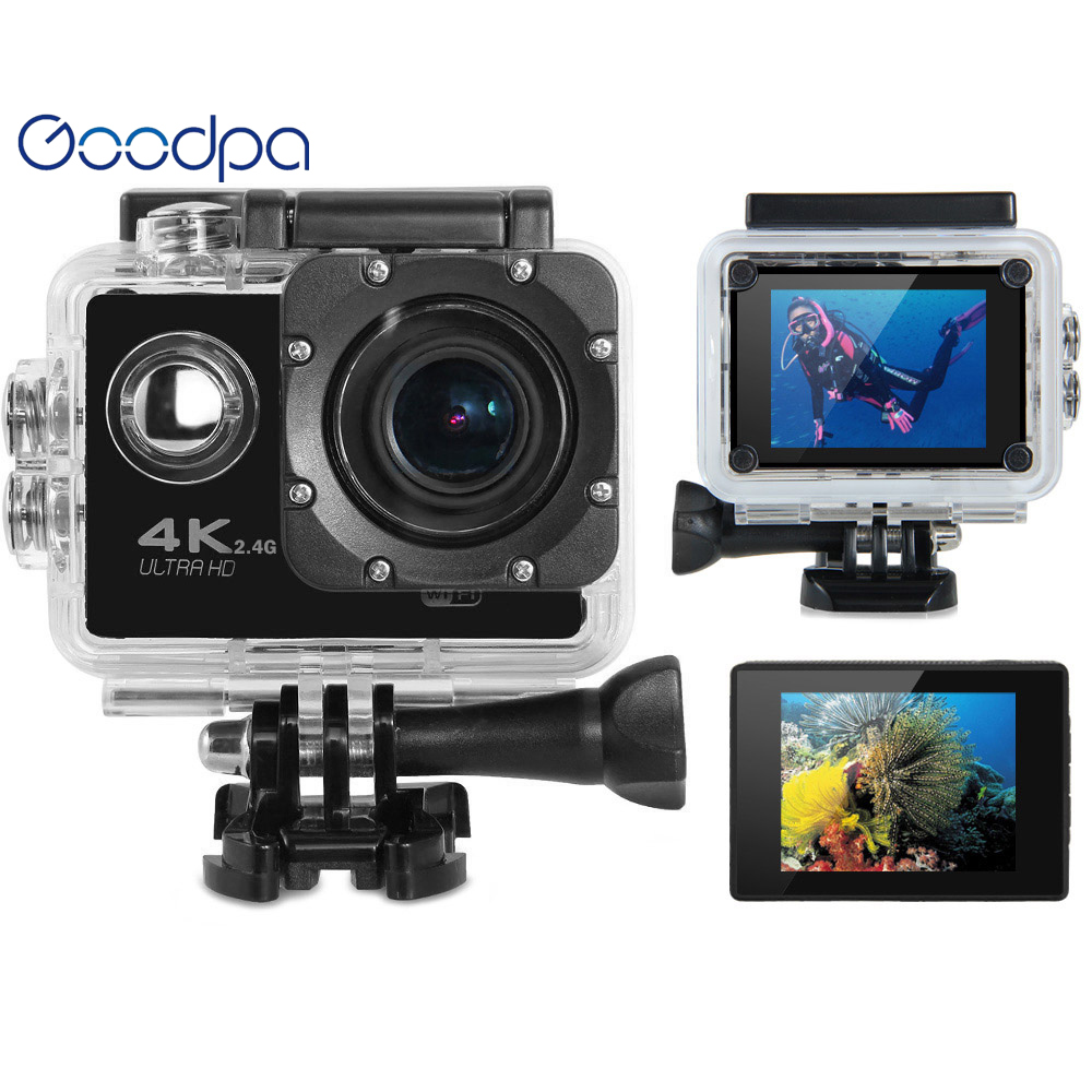 Goodpa WIFI Action Camera F60/F60R 1080p HD V3 4K / 30FPS 2.0 170D pro Helmet Cam 30meters Waterproof Sports DV Car Cam Camera wimius 20m wifi action camera 4k sport helmet cam full hd 1080p 60fps go waterproof 30m pro gyro stabilization av out fpv camera
