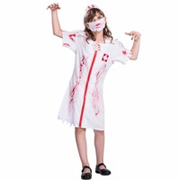 2017 Cheap Kids Zombie Nurse Cosplay Dress Mask Hat Set Costumes Scary Halloween Costumes Bloody Printed Girls Nurse Costume