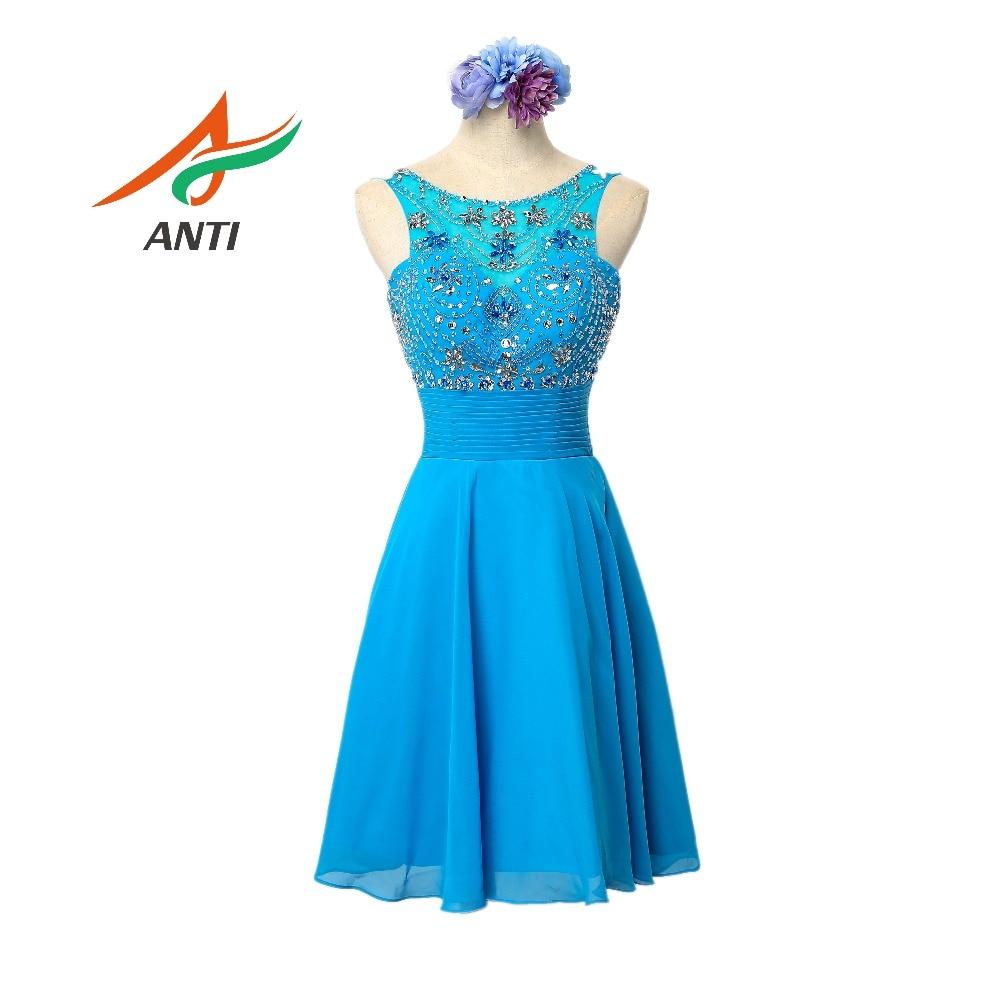 Элегантное синее коктейльное платье ANTI 2018 Vestido De Festa Бисероплетение с кристаллами Коктейльные платья с плеча Сексуальное платье до колен