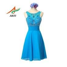 ANTI Elegant Blue Cocktail Dress 2019 Vestido De Festa Beading Crystal Cocktail Party Gowns Off the Shoulder Sexy Knee-Length