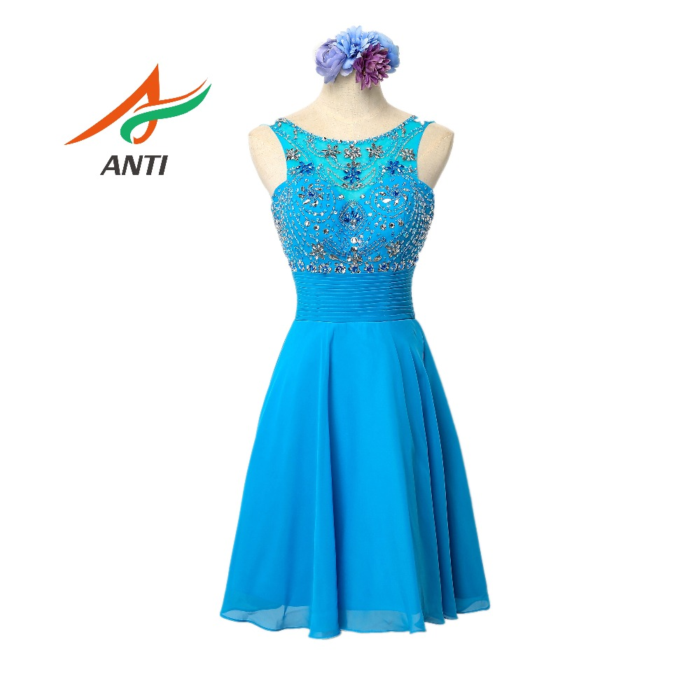 ANTI Elegant Blue   Cocktail     Dress   2019 Vestido De Festa Beading Crystal   Cocktail   Party Gowns Off the Shoulder Sexy Knee-Length