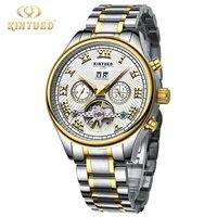 Kinyued Golden Watches Men Skeleton Mechanical Watch Stainless Steel Top Brands Luxury Man Watch Montre Homme