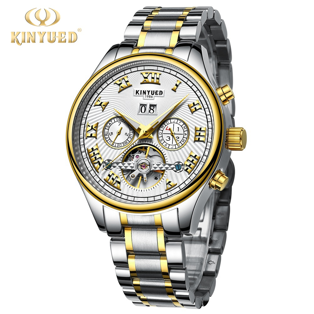 Kinyued Golden Watches Men Skeleton Mechanical Watch Stainless Steel Top Brands Luxury Man Watch Montre Homme Wristwatch outad men skeleton mechanical hand wind watch leather top brands luxury male montre homme rome number display wristwatch relogio