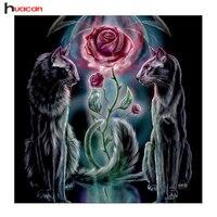 HUA CAN Diamond Embroidery Rose Diy 5d Diamond Painting Cats Wedding Decoration Cross Stitch Crystal Modern