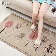 BYDOLL Anti-Slip Linen Kitchen Mat Absorb Water Kitchen Carpet Home Doormat Cartoon Bath Mat High Quality Bedroom Rugs