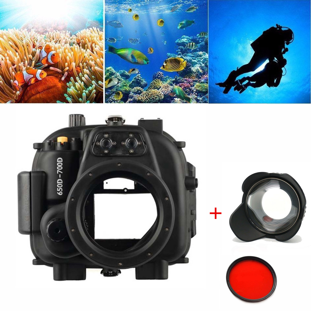 Meikon 40M 130FT Underwater Waterproof Housing Case for Canon EOS 650D 700D ( Rebel T4i/T5i ) Camera + MEIKON 67mm Fisheye Lens image