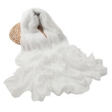 Mulheres lenço branco xale chiffon lenços primavera outono grande mais tamanho senhoras tippet toalha de praia