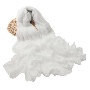 Image 1 - women scarf white shawl chiffon scarves spring autumn large more size ladies tippet beach towel