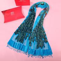 High Quality Ladies Hijab Cape Lake Blue Long Muffler Spring Velvet Scarf Wrap Peacock Beaded Shawl Warm Mujere Bufanda Shawls