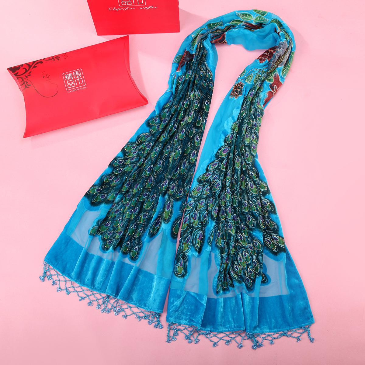 High Quality Ladies Hijab Cape Lake Blue Long Muffler Spring Velvet   Scarf     Wrap   Peacock Beaded Shawl Warm Mujere Bufanda Shawls