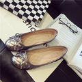Black Soft  Flat Heel  Female Leather Bow Sexy Shallow Mouth Round Toe Flat-bottomed Single Shoes Work Shoes