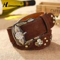 HIMUNU New Women's Pigskin Leather Belt for women Cintos Femininos Vintage Rhinestones Flower Rivet women belt Women Belts