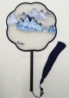 Роскошный подарок ручной вентилятор китайский Сучжоу двухсторонний шелк тутового шелкопряда вышивка ремесло вентилятор декоративная Жен