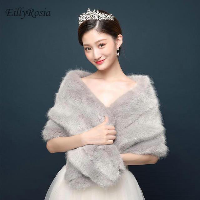 Fashion Women Faux Fur Bolero Winter Wedding Wraps 2019 Bridal Capes