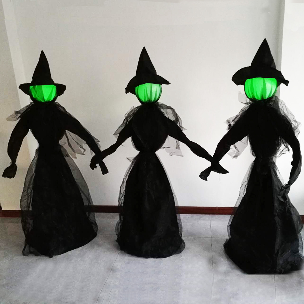 5.9 Feet Glowing Face Witch Decor Set For Graveyards