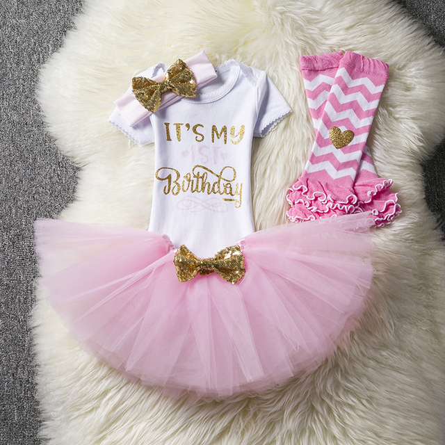 8ca077786 Baby Girl Half One Two Years Birthday Tutu Set Toddler Newborn Infant Baby  Baptism Clothes Outfits