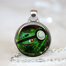 2016 New Fashion Anime Jewellery Bulbasaur Pokeball Pokemon Necklaces 27 MM Round Glass Dome Maxi Necklace