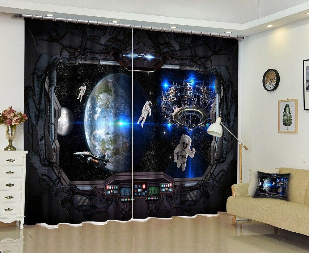 Photo de vaisseau spatial vue extérieure 3D rideau pour la literie salon rideaux rideaux pare-soleil fenêtre rideau personnaliser la taille