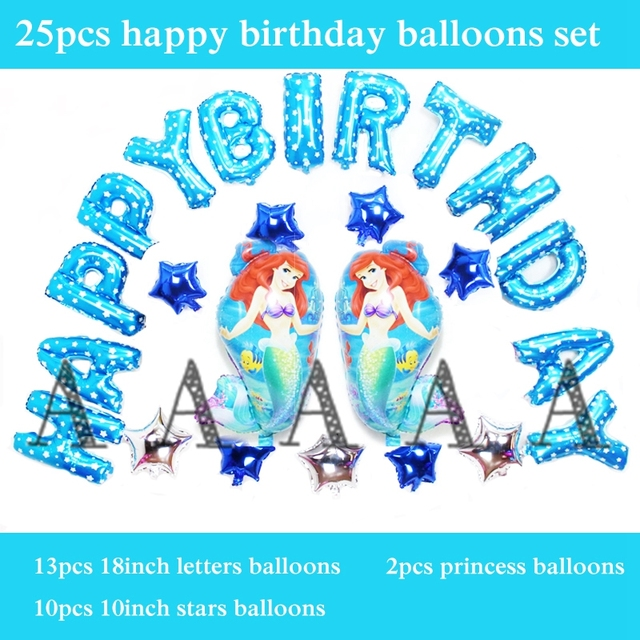 25pcs Set Foil Ballons Ariel Balloons Princess Little Mermaid Happy Birthday Letter For