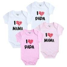 60cb5ffaa0918 Bébé Filles Vêtements Set J aime Papa Mama Imprimé Bébé Garçon Barboteuses  100% Coton À Manches Courtes Unisexe Infantile Vêteme.
