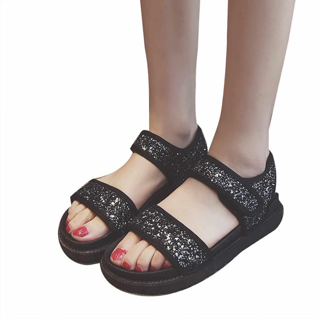 SAGACE 新ファッション女性夏サンダルフック & レースループウェッジセクシーブリンブリンカジュアルラウンドトウシューズ英国風ウェッジヒール姫靴月 4