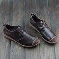 Mulheres Sapatos Primavera/Outono Couro Genuíno Flat Shoes toe Rodada Lace up Flats Mocassins Senhoras 2016 Moda Calçado (0386-A)