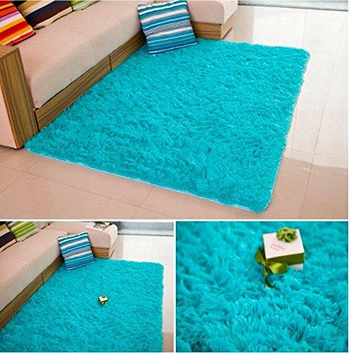 Super Soft Silk Wool Indoor Rug Blue