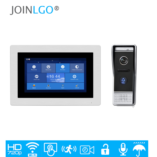 """Free Shipping 1.0MP 720P AHD HD WIFI IP 7"""" Touch Screen Video Intercom Door Phone Recording Kit Android IOS Phone Remote Monitor"""