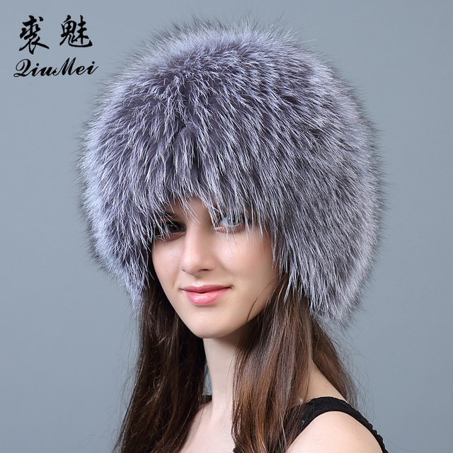 34317d235af QiuMei Women Winter Fur Hat Genuine Fox Fur Hats Knitted Real Silver Fox  Fur Caps Female Russian Bomber Caps Thicken Lined