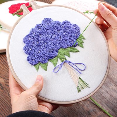 Dropwow 3d Diy Rose Flower Bouquet Embroidery Set With Hoop For