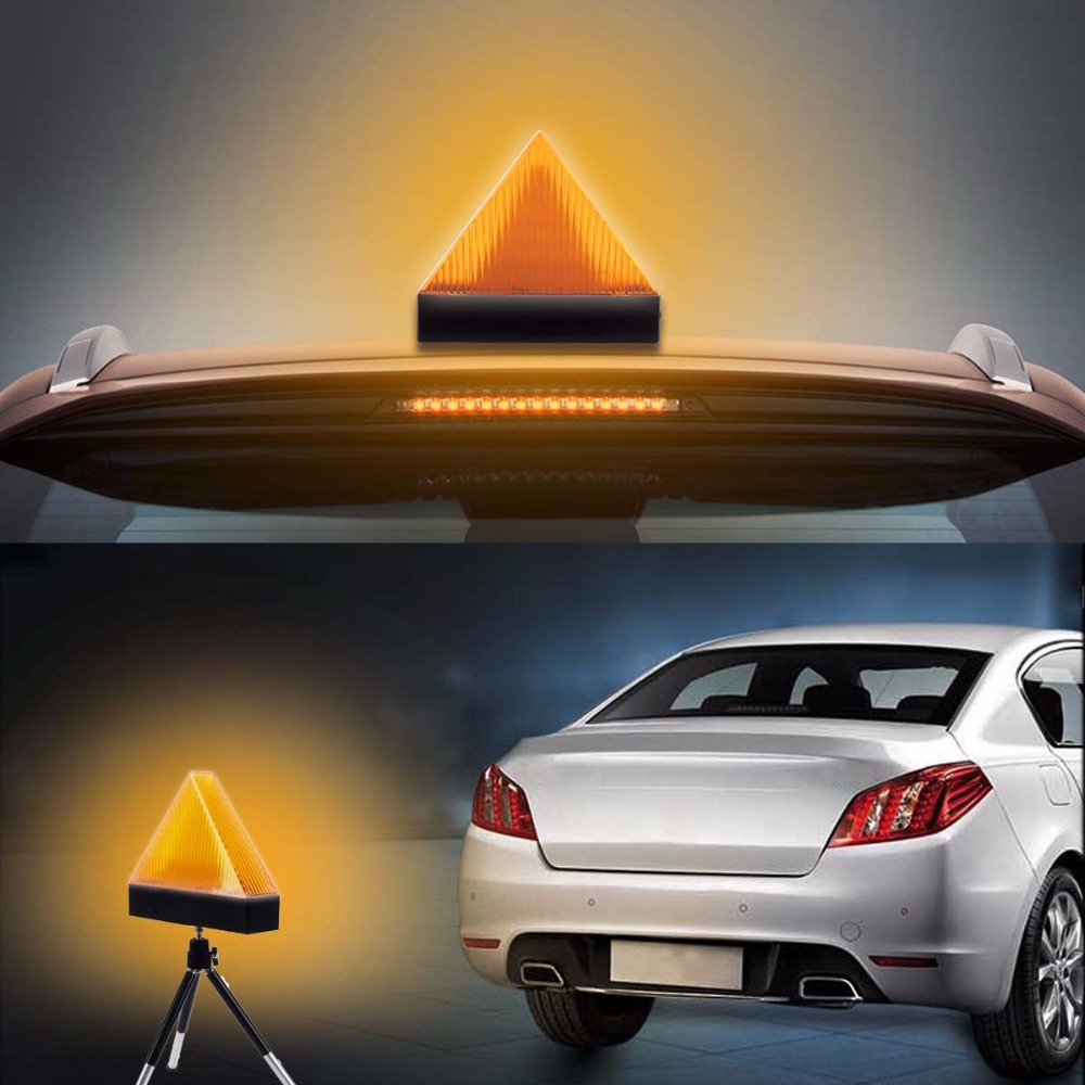 1PC Red/yellow Auto Car flash Caution Warning Lights Safety Emergency Triangle 12V LED Beacon Strobe Emergency Anti-Collision