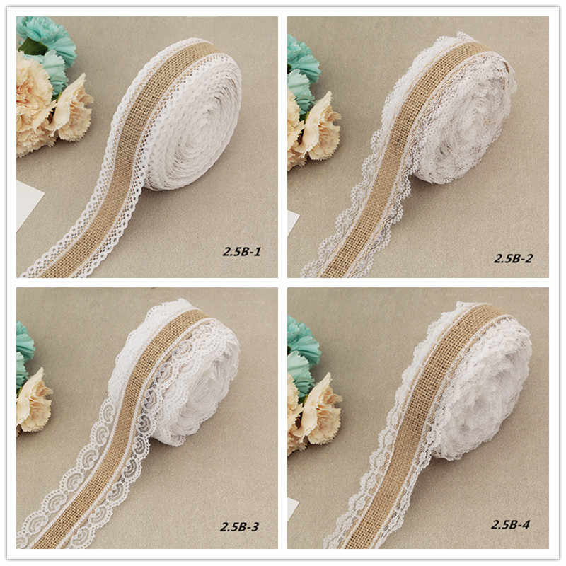 2 Meter Natural Jute Burlap Rolls Hessian Ribbon With Lace Vintage Rustic Wedding Decoration Wedding Party Favors