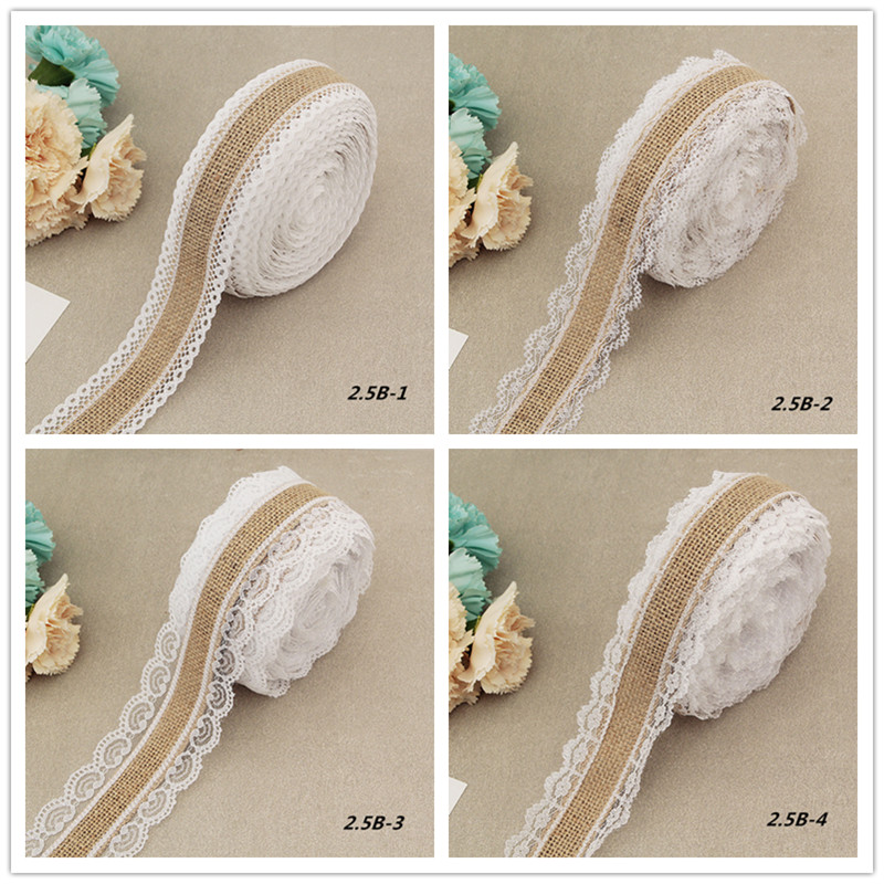 2 Meter Natural Jute Burlap Rolls Hessian Ribbon With Lace Vintage Rustic Wedding Decoration Wedding Party Favors(China)