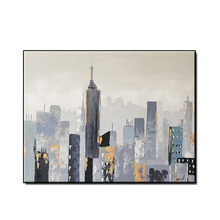 Hot Poster High Quality Abstract city building scereny Oil Painting on Canvas Handmade Oil Painting for living room no framed(China)