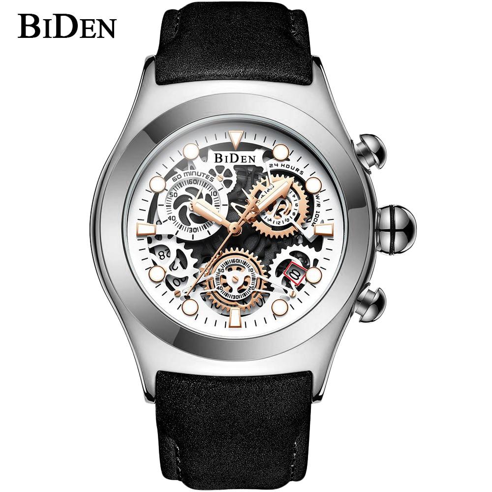 BIDEN Top Brand Luxury 3D Gear Dial Quartz Watches Men Leather Strap Chronograph Sport Analog Wristwatch Relogio Masculino