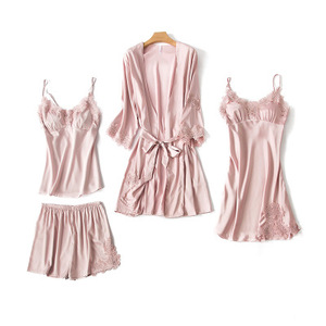 Image 2 - Moda kadın takım elbise elbise + askı + Cami üst + şort 4 adet saten pijama Set seksi kadın pijama pijama dantel Nightie Homewea