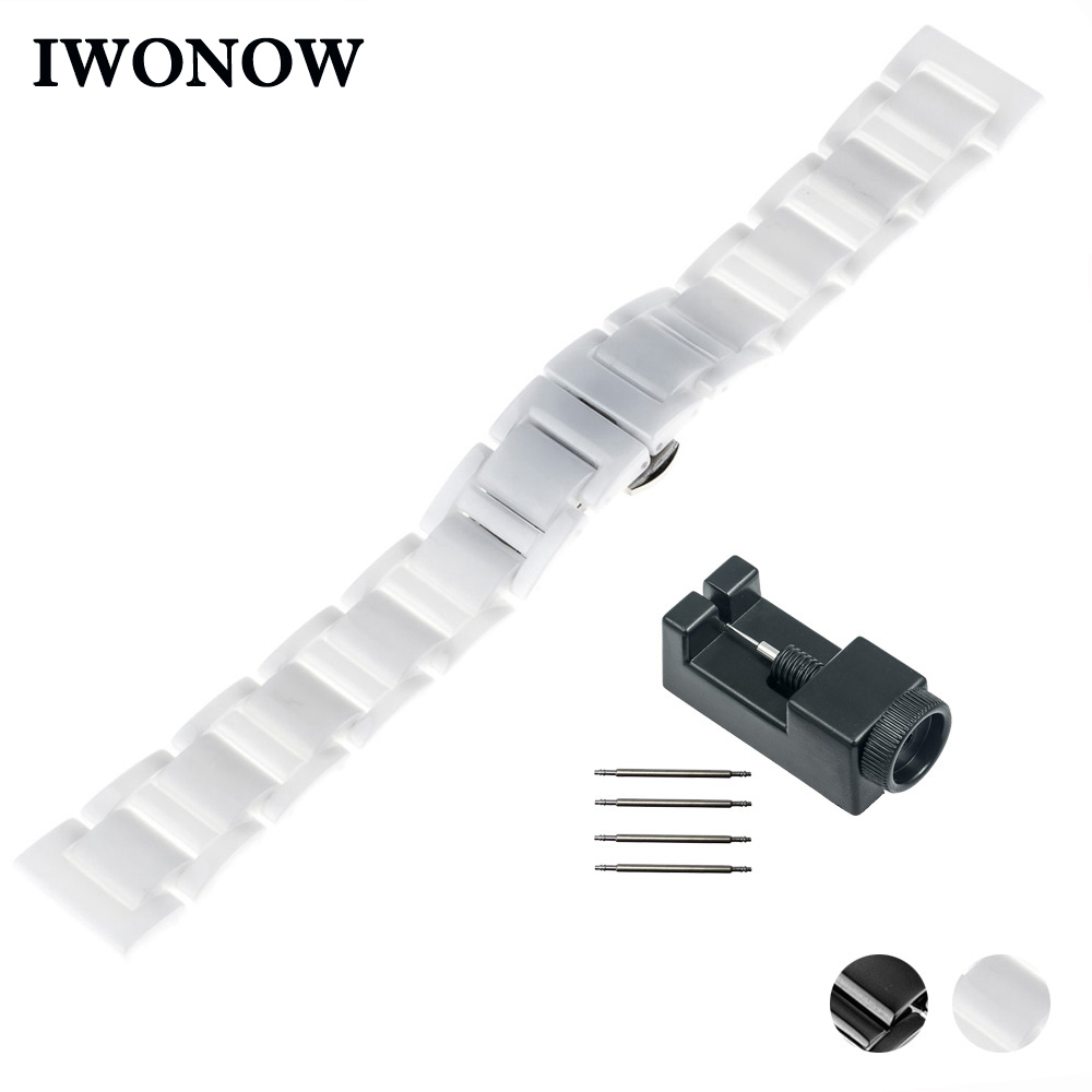 16mm 18mm 20mm Ceramic Watch Band for Tissot 1853 T035 <font><b>PRC</b></font> <font><b>200</b></font> T055 T097 Butterfly Buckle Strap Wrist Belt Bracelet Black White image