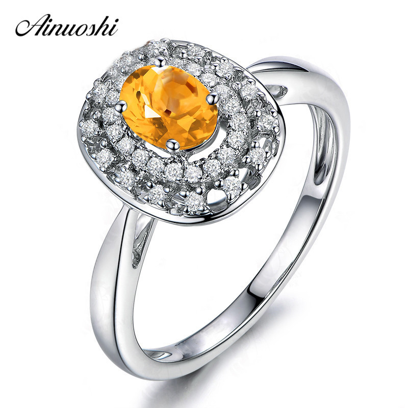 AINUOSHI Natural Citrine Double Halo Ring 0.5ct Oval Cut Gems 925 Sterling Silver Ring Fine Engagement Party Jewelry Women RingAINUOSHI Natural Citrine Double Halo Ring 0.5ct Oval Cut Gems 925 Sterling Silver Ring Fine Engagement Party Jewelry Women Ring