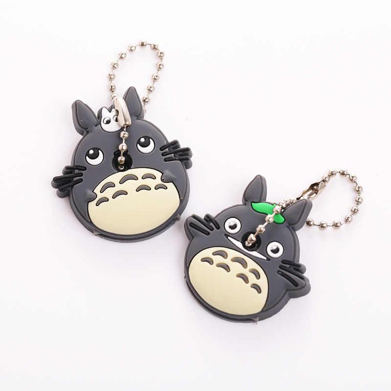ZOEBER 2 PCS conjunto de Tampa Chave Bonito Anime urso Dos Desenhos Animados Olá Kitty Totoro Silicone Chave do carro anéis Chaveiros Animal melodia Keychain
