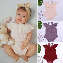 Newborn Summer Baby Girl Bodysuit Casual Ruffled Solid Baby Girl Kid Clothes Baby Bodysuits Girls Boys Newborn Onesie(China)