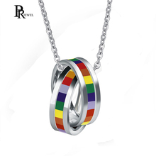 Stainless Steel Rainbow Double Hoop Pendant Necklace for Gay and Lesbian  Pride