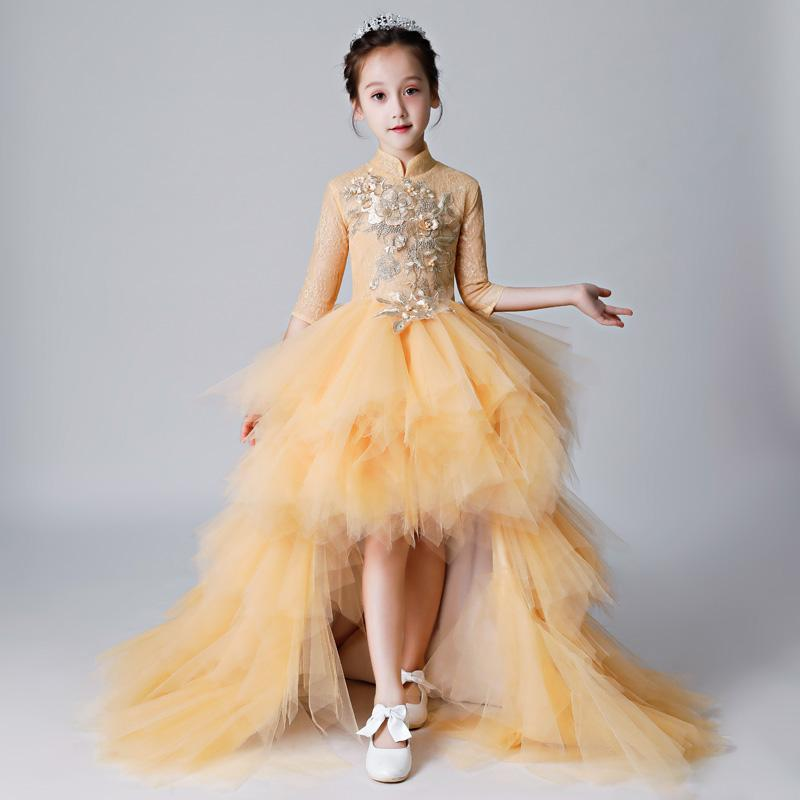 Baby Children Ball Gown Luxury Flower Girl Dresses for Wedding Detachable Long Trailing Princess Dress Kids Evening Gowns Y461Baby Children Ball Gown Luxury Flower Girl Dresses for Wedding Detachable Long Trailing Princess Dress Kids Evening Gowns Y461