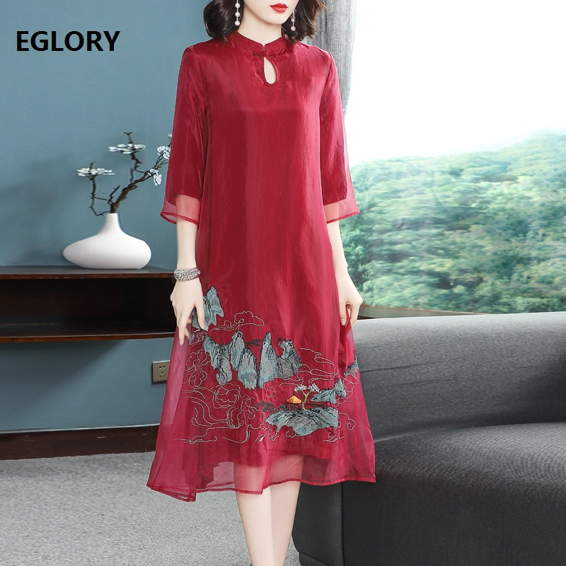 US $57.5 29% OFF|Top Quality Brand Chinese Dress 2019 Spring Summer Vintage  Dress Plus Size Women Organza Embroidery 3/4 Sleeve Party Midi Dress-in ...