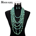Moon Girl Fashion Bohemia choker necklace jewelry display big statement necklace Multilayer Simulated Pearl long necklace women