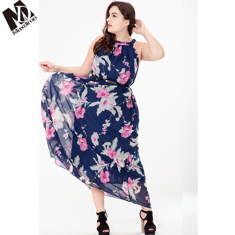 Maxdiroo Women Summer Dress Print Flowers Party Dress Plus Size Long Sleeve  Causal Dress Long Maxi e94a289de146