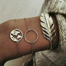 Cuteeco 3pcs/Set Vintage Feather Map Charm Bracelets Bangles For Women Fashion Silver Color Boho Chain Sets Jewelry